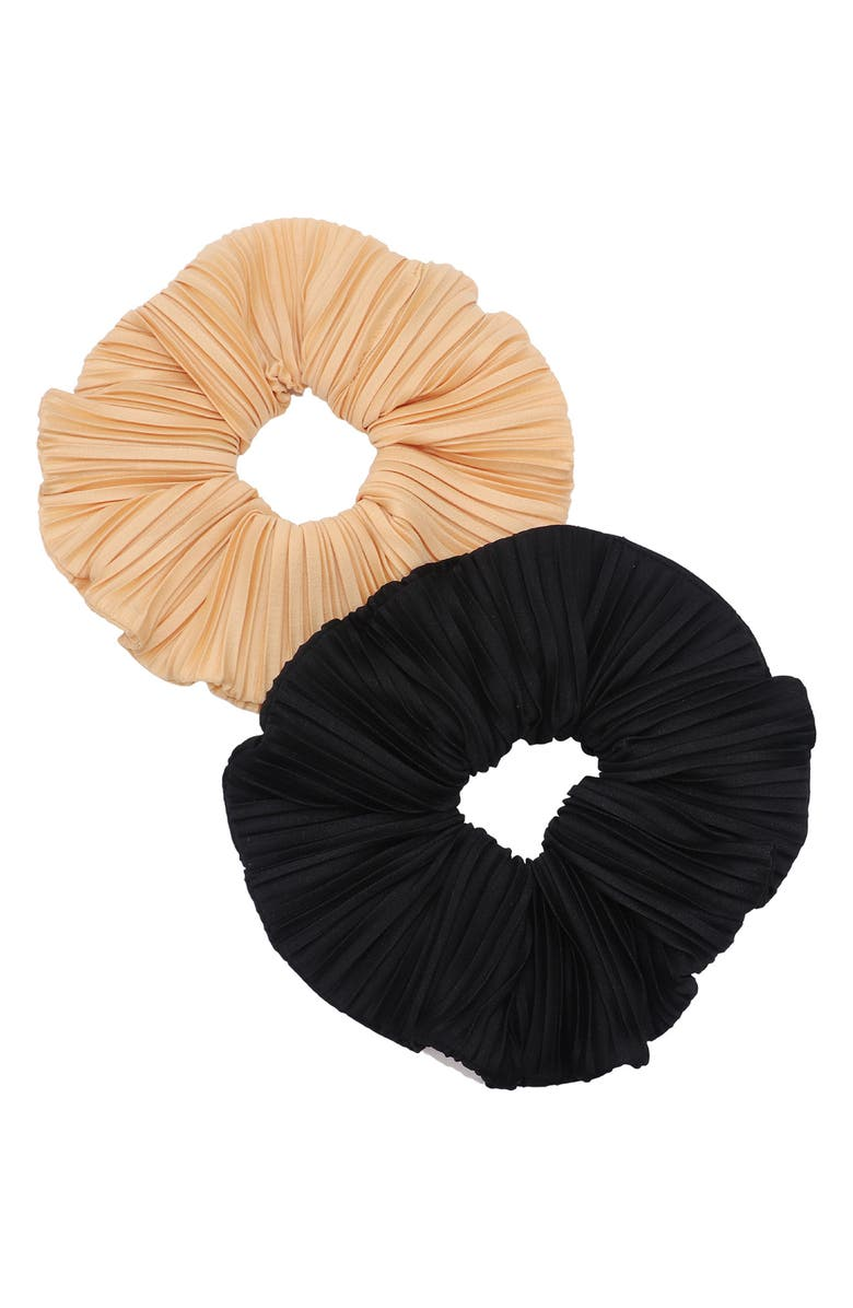 TASHA Assorted 2-Pack Oversize Pleated Scrunchies, Main, color, BLACK/ CHAMPAGNE