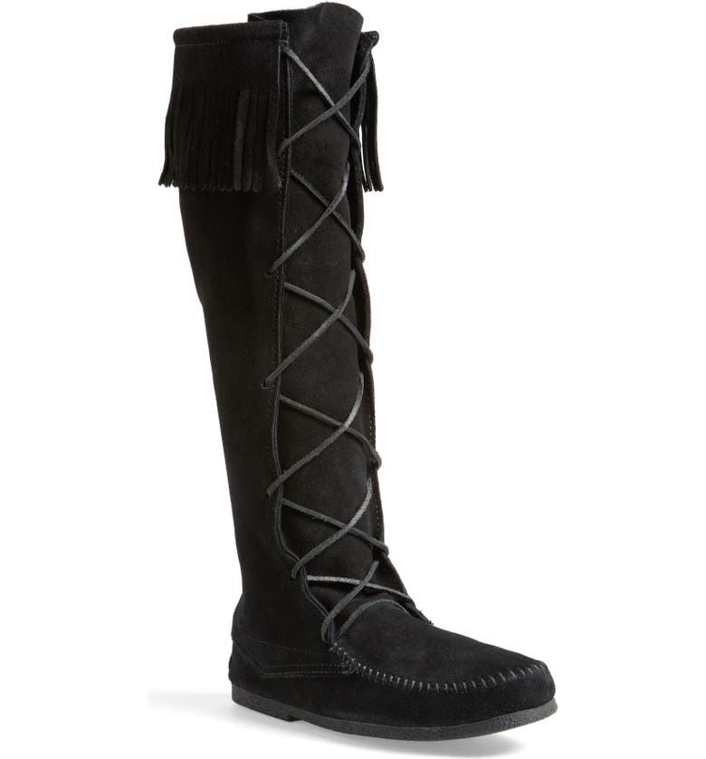 MINNETONKA Knee High Moccasin Boot, Main, color, BLACK SUEDE