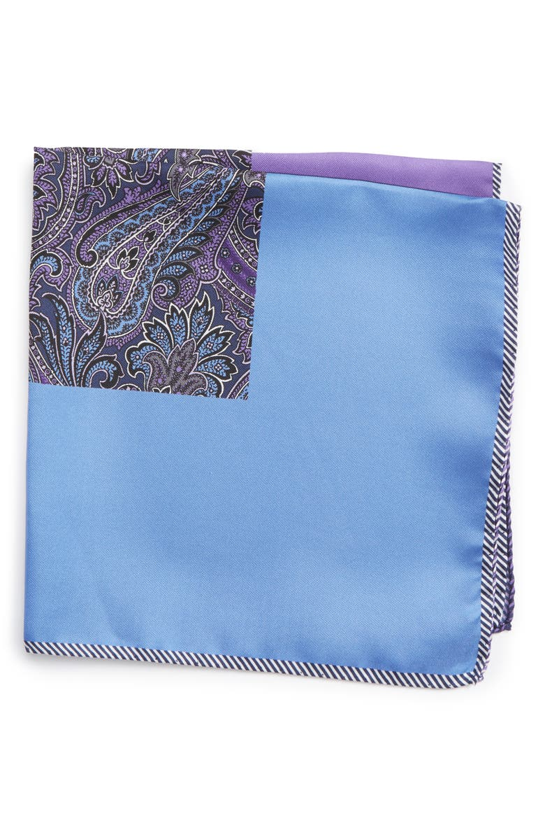 NORDSTROM Five Panel Silk Pocket Square, Main, color, PURPLE