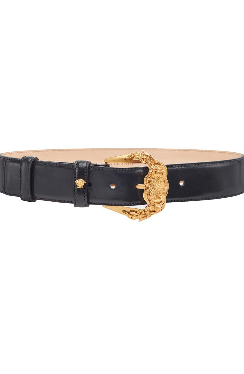 VERSACE First Line Baroque Buckle Leather Belt, Main, color, NERO/ GOLD TRIBUTE