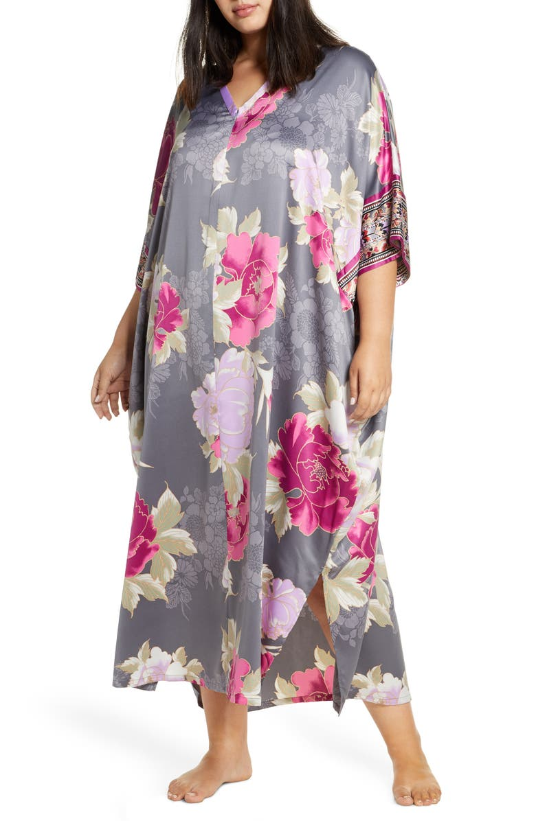 NATORI Fusion Satin Zip Caftan, Main, color, 020