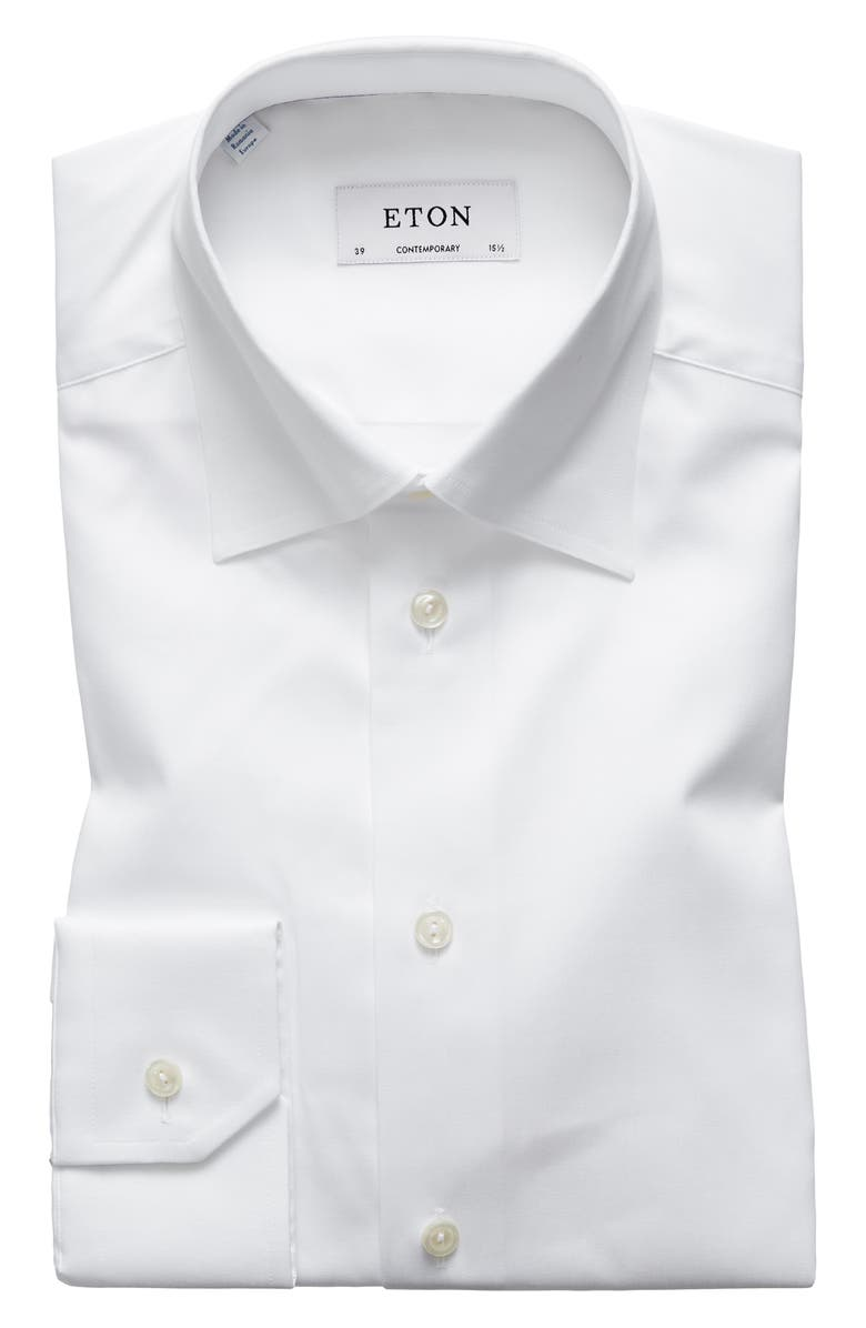 ETON Contemporary Fit Solid Dress Shirt, Main, color, WHITE