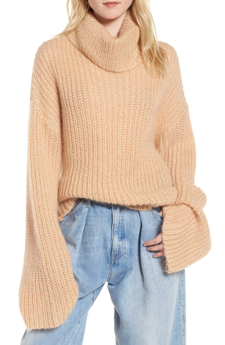 KENDALL + KYLIE Cross Back Turtleneck Sweater, Main, color, TOASTED ALMOND
