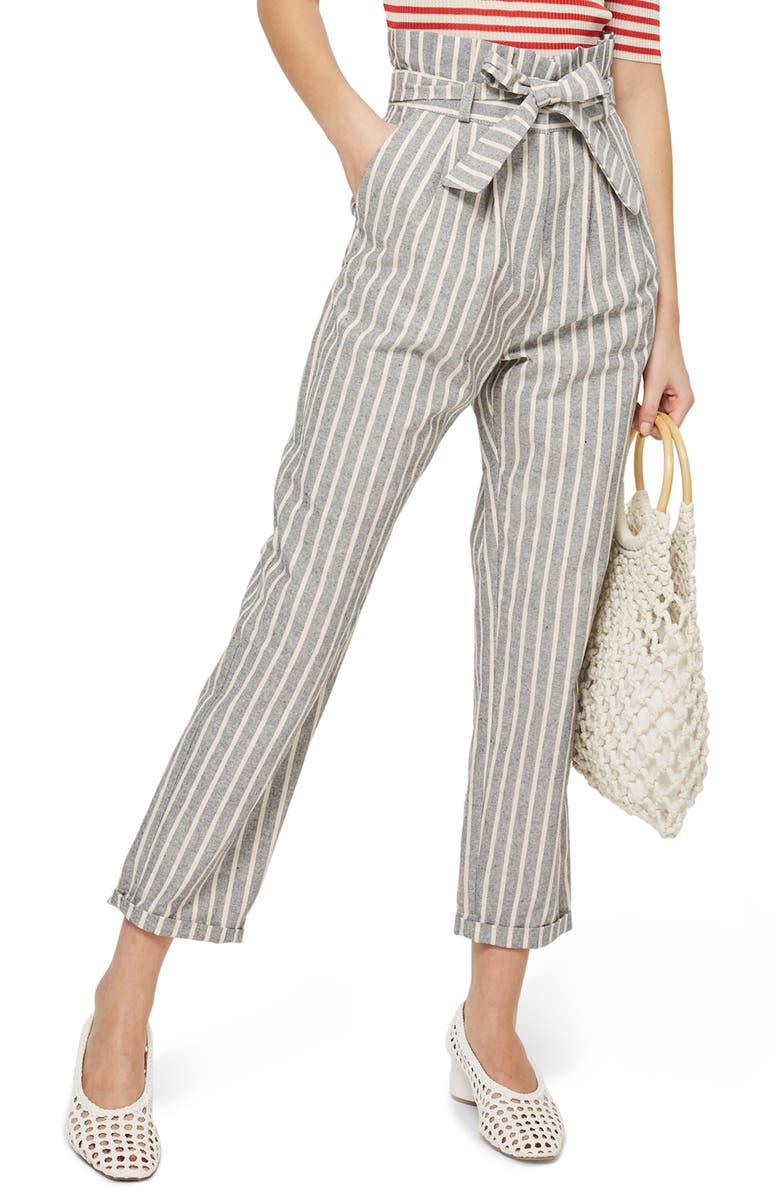 TOPSHOP Belted Stripe Roll-Cuff Trousers, Main, color, 400