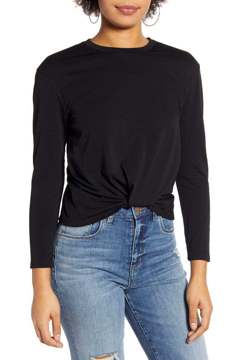 BP. Knot Front Tee, Main, color, 001