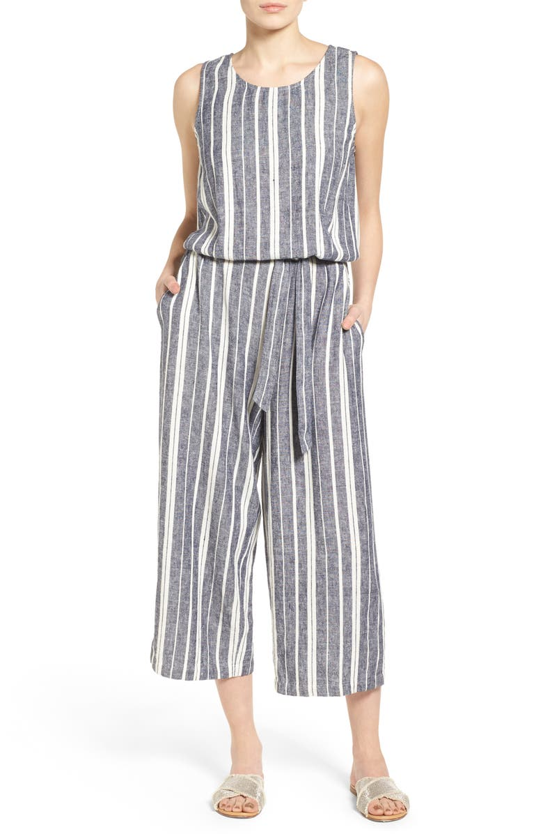 TWO BY VINCE CAMUTO Stripe Linen Blend Culotte Jumpsuit, Main, color, NEW IVORY