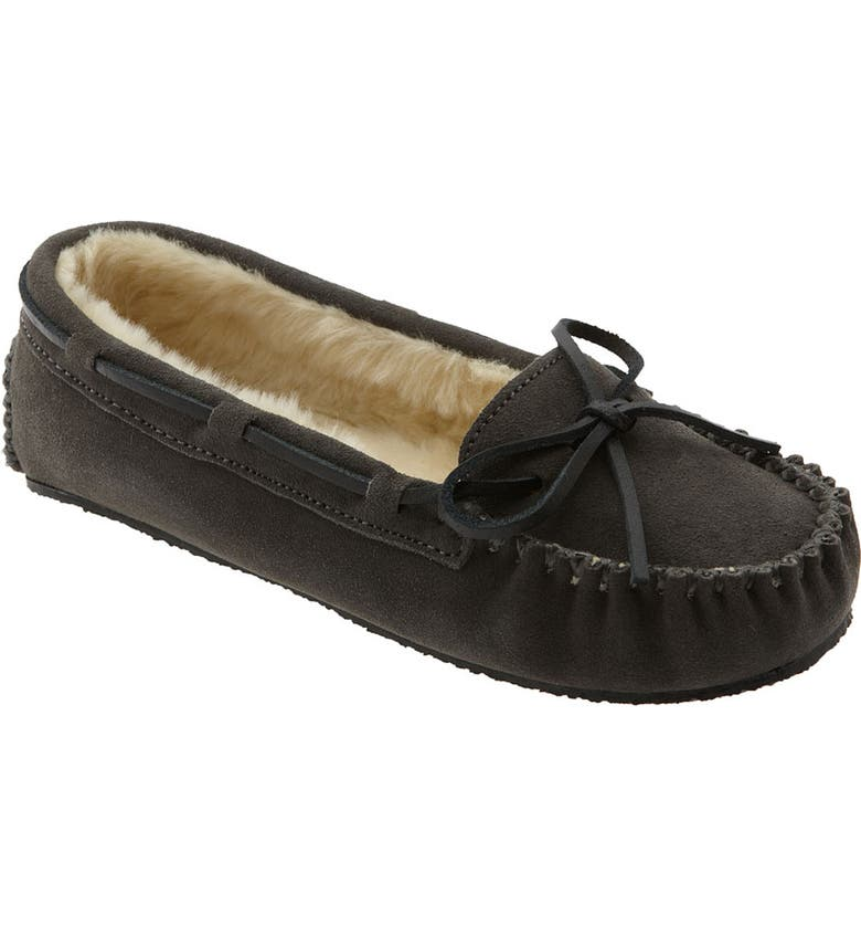 MINNETONKA 'Cally' Slipper, Main, color, GREY SUEDE