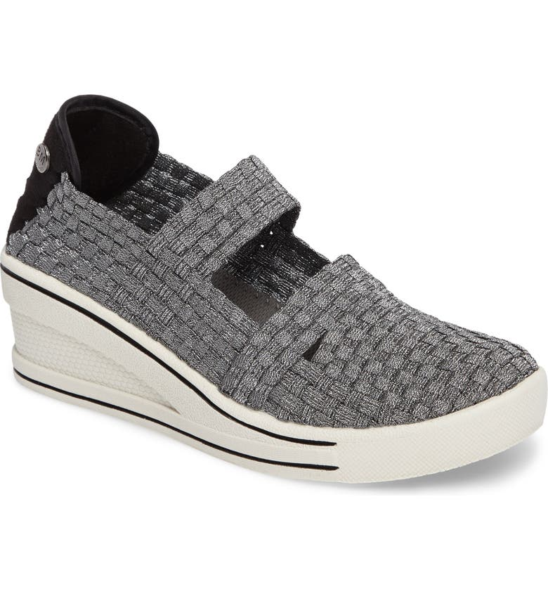 BERNIE MEV. Frontier Woven Mary Jane Wedge, Main, color, PEWTER FABRIC
