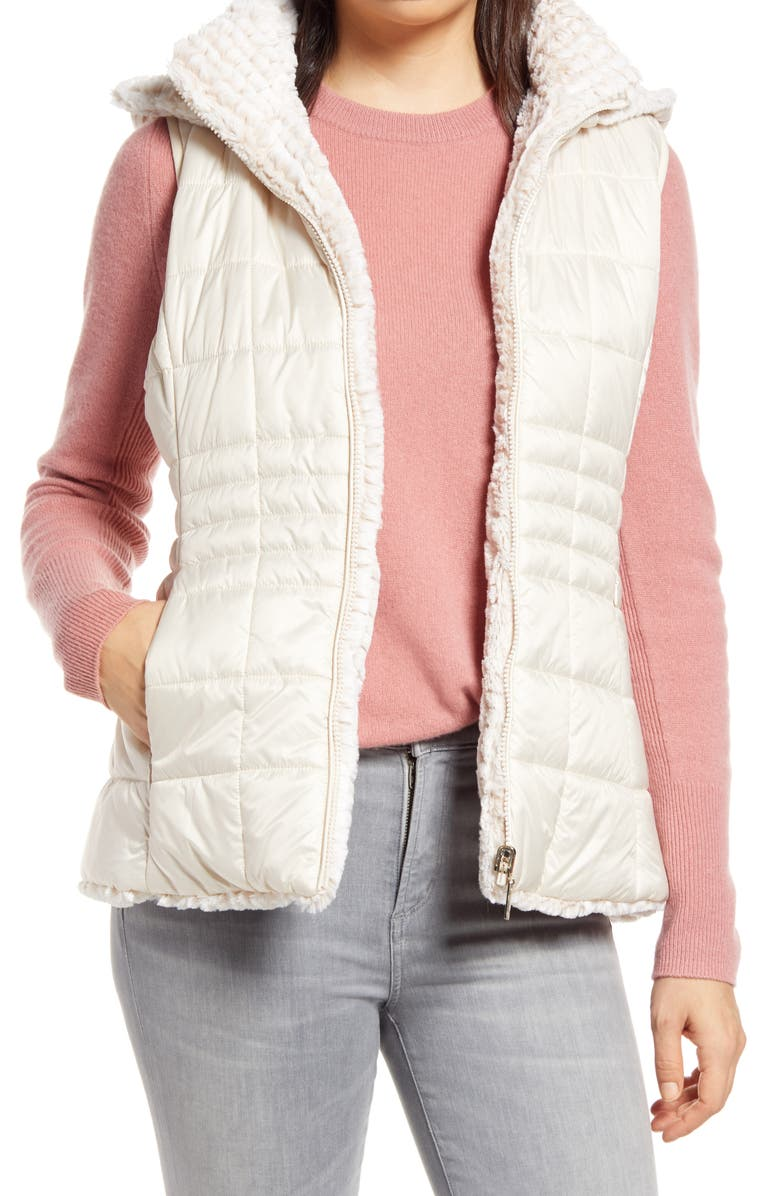 GALLERY Reversible Faux Fur Quilted Puffy Vest, Main, color, IVORY