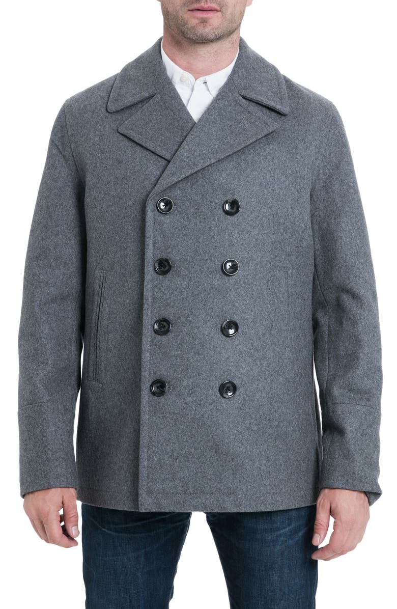 MICHAEL KORS Wool Blend Double Breasted Peacoat, Main, color, 038