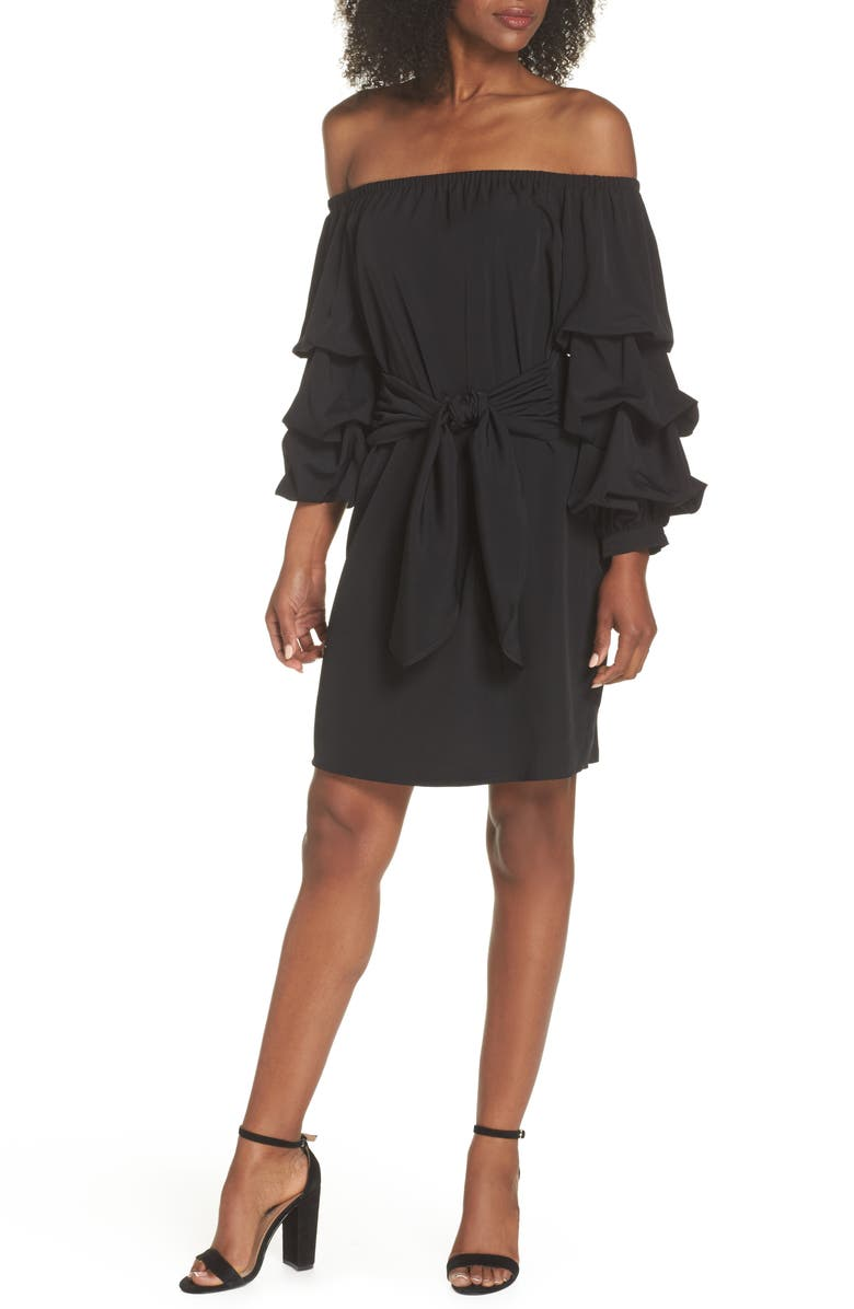 CHELSEA28 Off the Shoulder Tiered Sleeve Dress, Main, color, 002