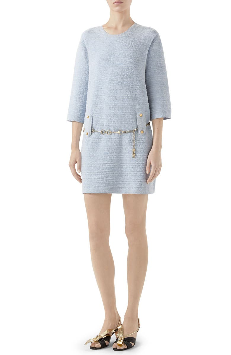 GUCCI Belted Cotton Blend Sweater Dress, Main, color, 900