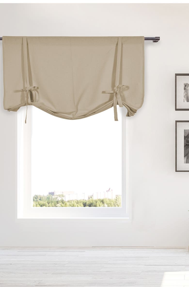 DUCK RIVER TEXTILE Kimi Solid Tie Up Curtain - Light Taupe, Main, color, LIGHT TAUPE