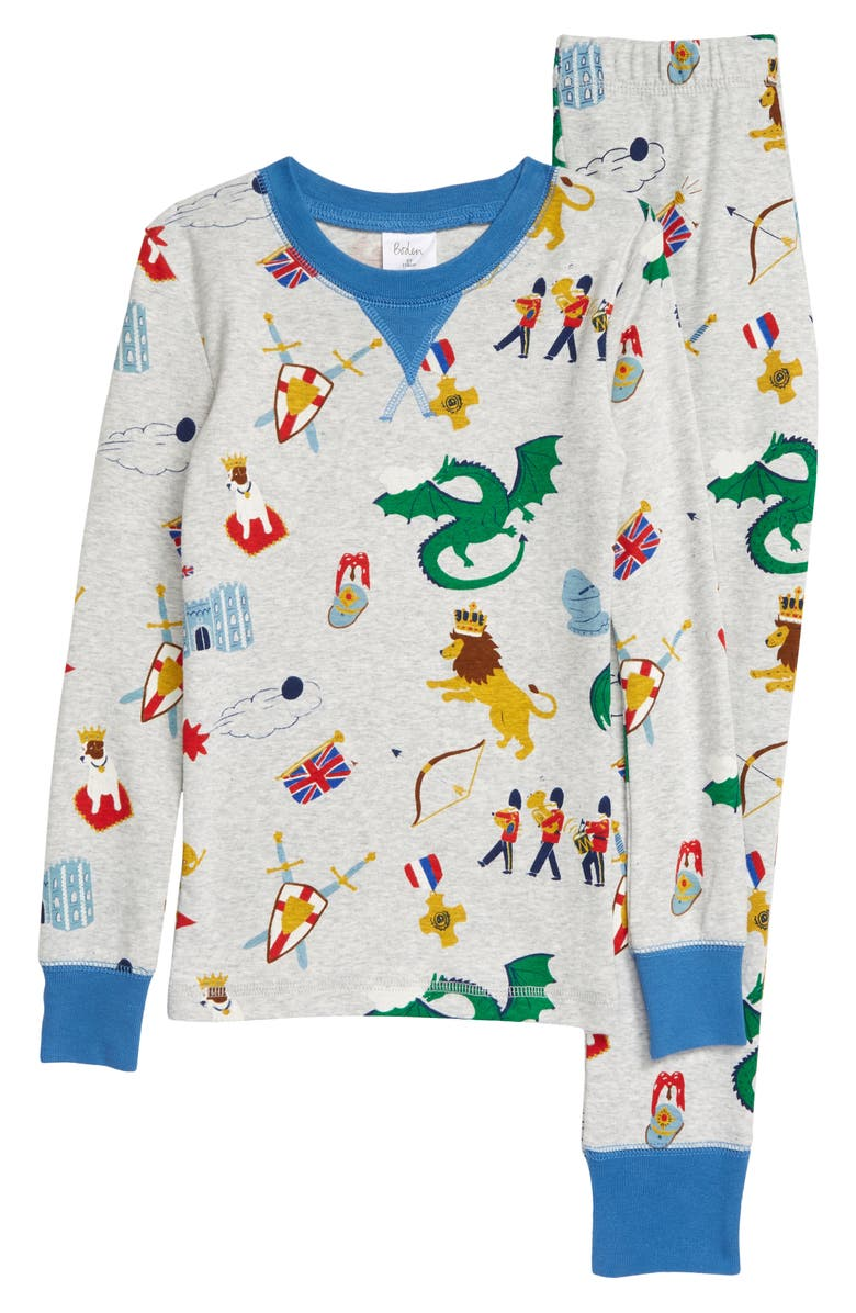 BODEN Mini Boden Kids' Medieval Print Fitted Two-Piece Pajamas, Main, color, 020