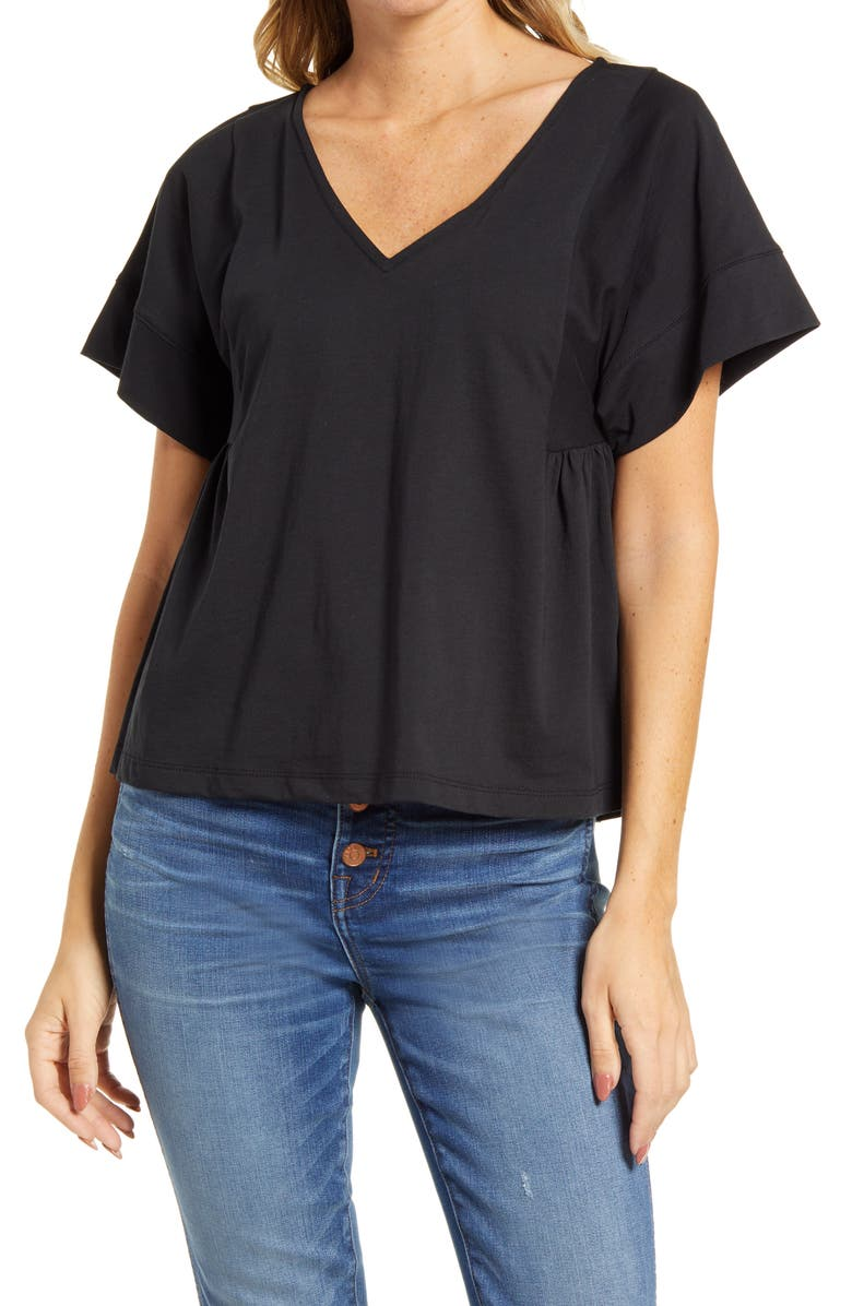 MADEWELL Supima<sup>®</sup> Cotton Flutter Sleeve Tee, Main, color, 001