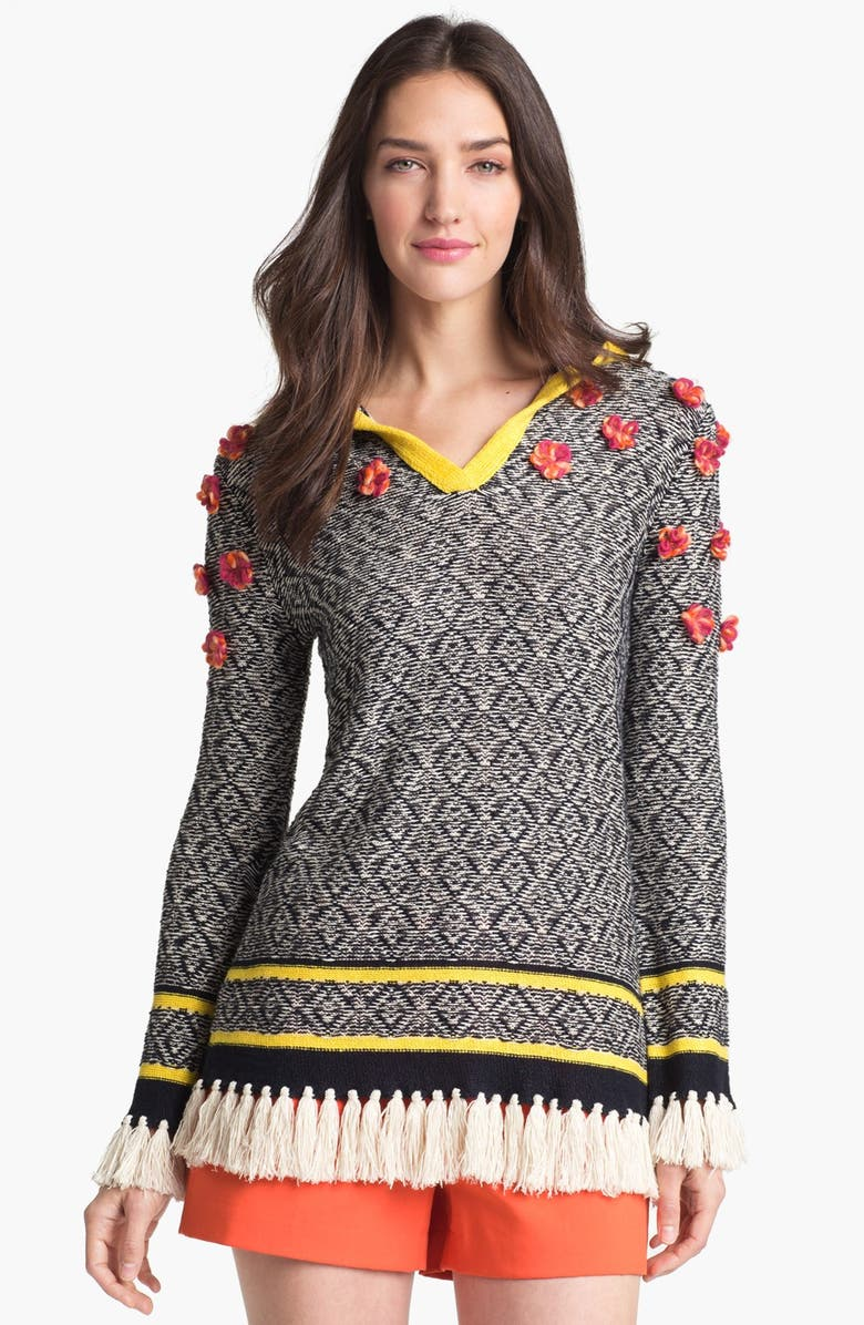 TORY BURCH 'Gatlin' Hooded Sweater, Main, color, 492
