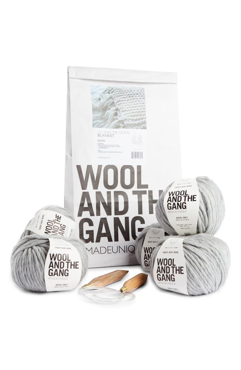 WOOL AND THE GANG Lil' Take Me Home Throw Blanket Knitting Kit, Main, color, ROCKY GREY