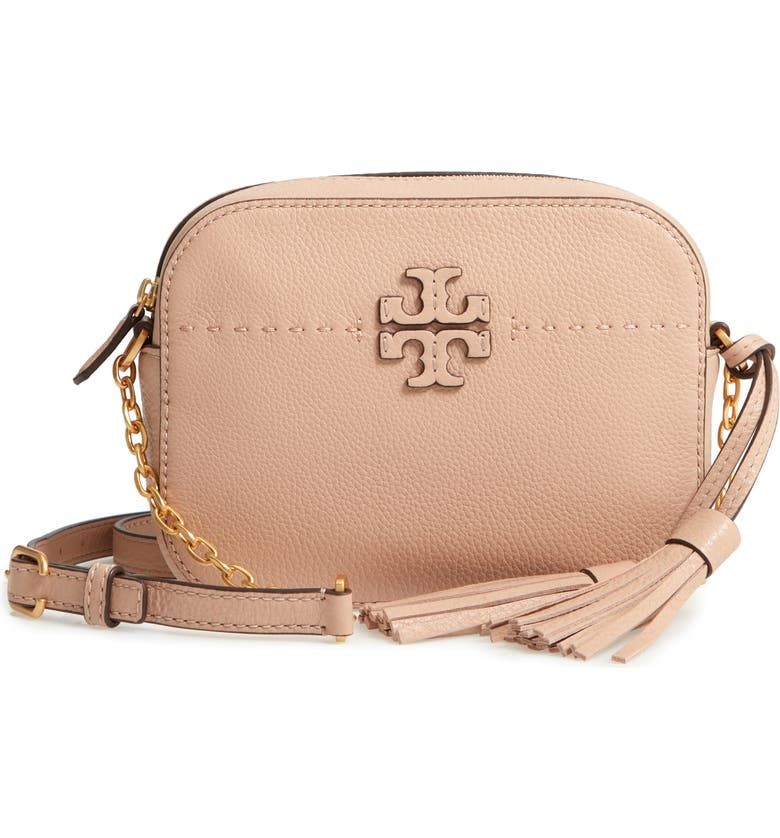 TORY BURCH McGraw Leather Camera Bag, Main, color, 200