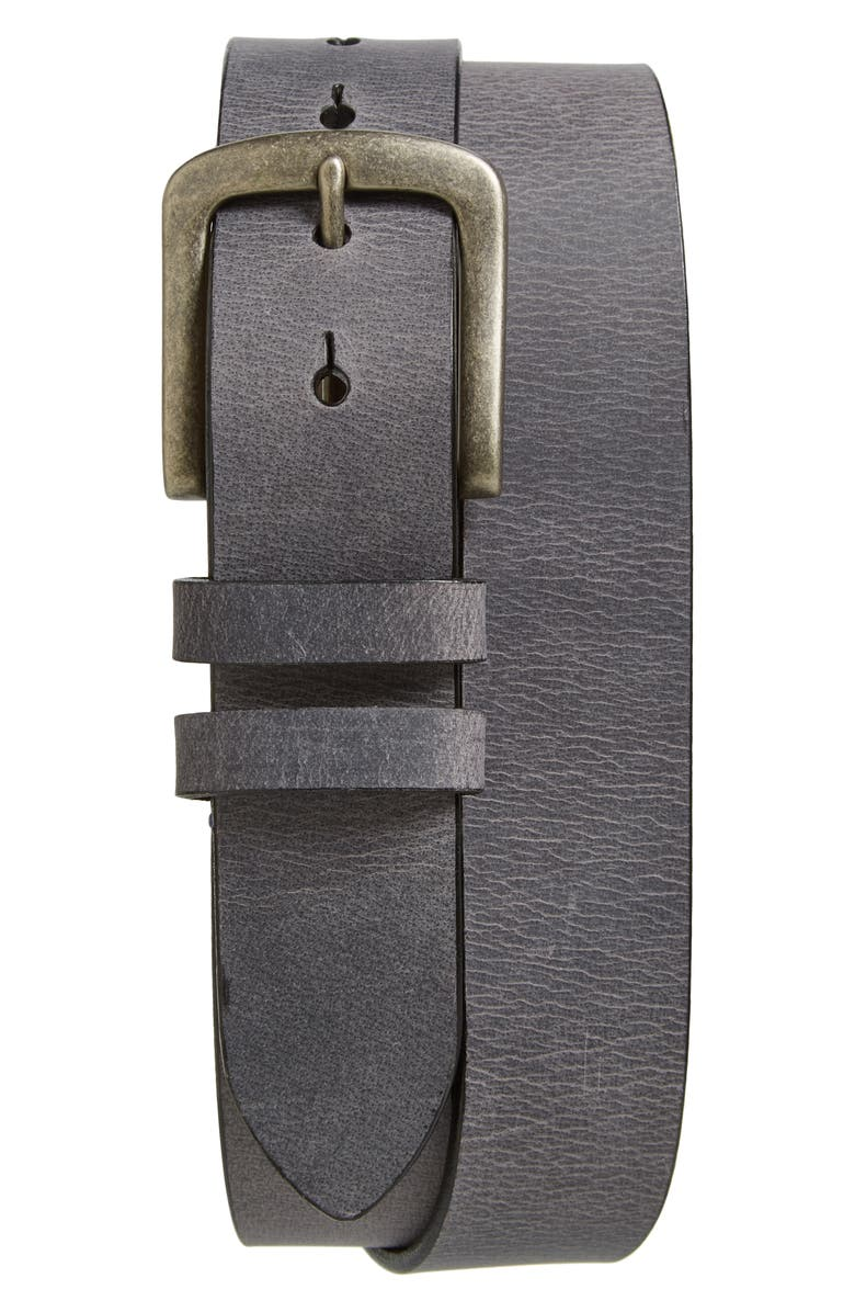 TORINO Belts Waxed Leather Belt, Main, color, CHARCOAL