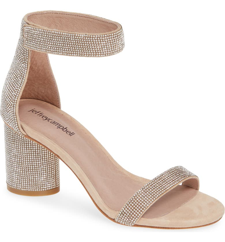 JEFFREY CAMPBELL Laura Ankle Strap Sandal, Main, color, NUDE SUEDE CHAMPAGNE