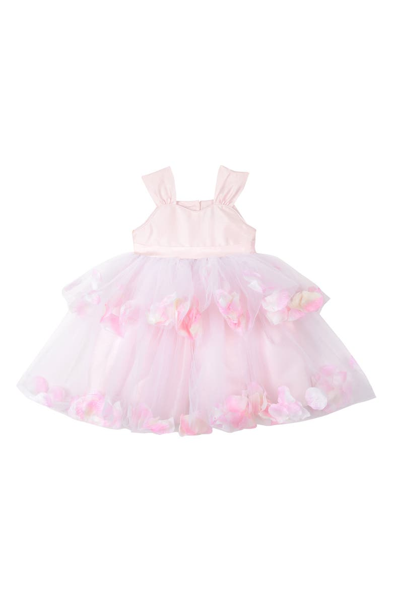 PIPPA & JULIE Tiered Petal & Tulle Party Dress, Main, color, Pink