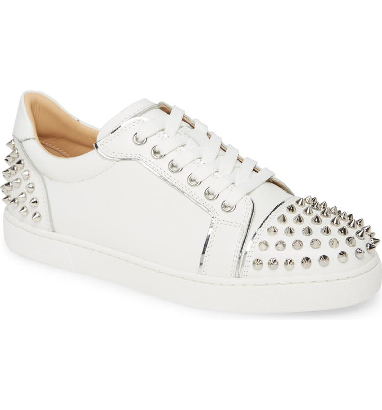 CHRISTIAN LOUBOUTIN Vieirissima Spike Low Top Sneaker, Main, color, BIANCO/ SILVER