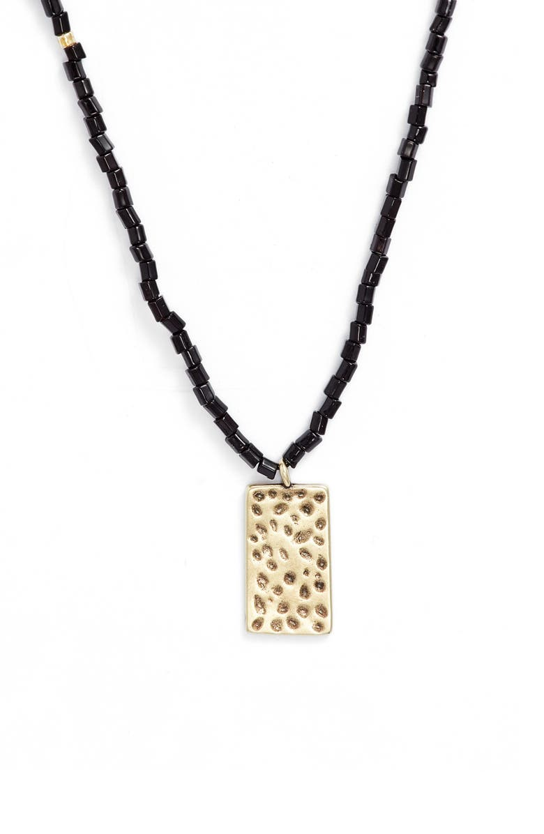 NORDSTROM Beaded Pendant Necklace, Main, color, BLACK- GOLD