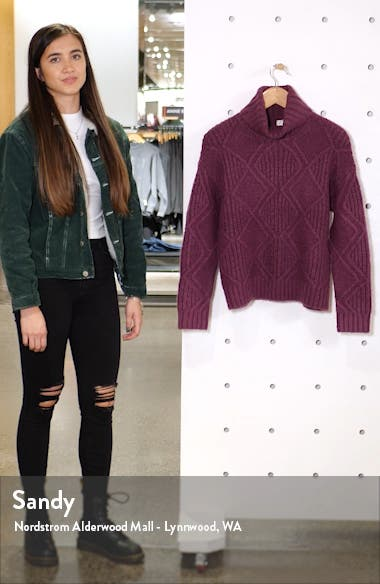 Chunky Cable Knit Turtleneck Sweater, sales video thumbnail