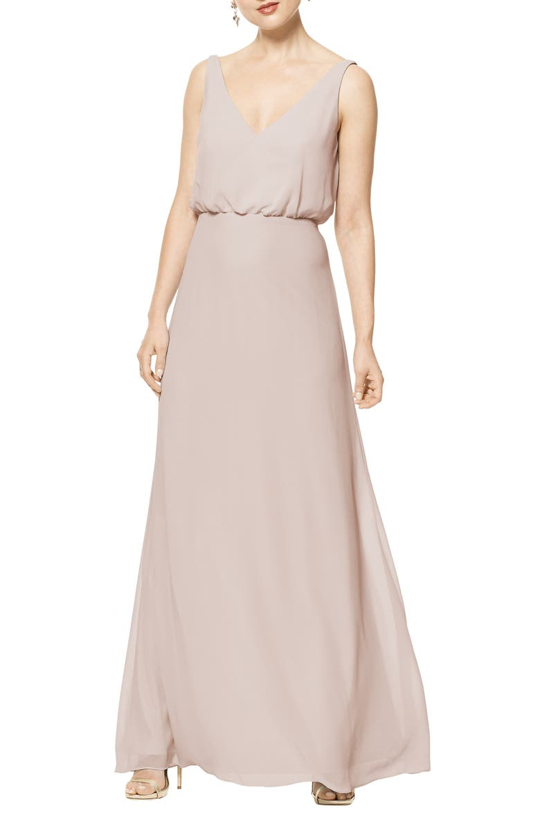 #LEVKOFF Blouson Chiffon A-Line Gown, Main, color, FROST ROSE