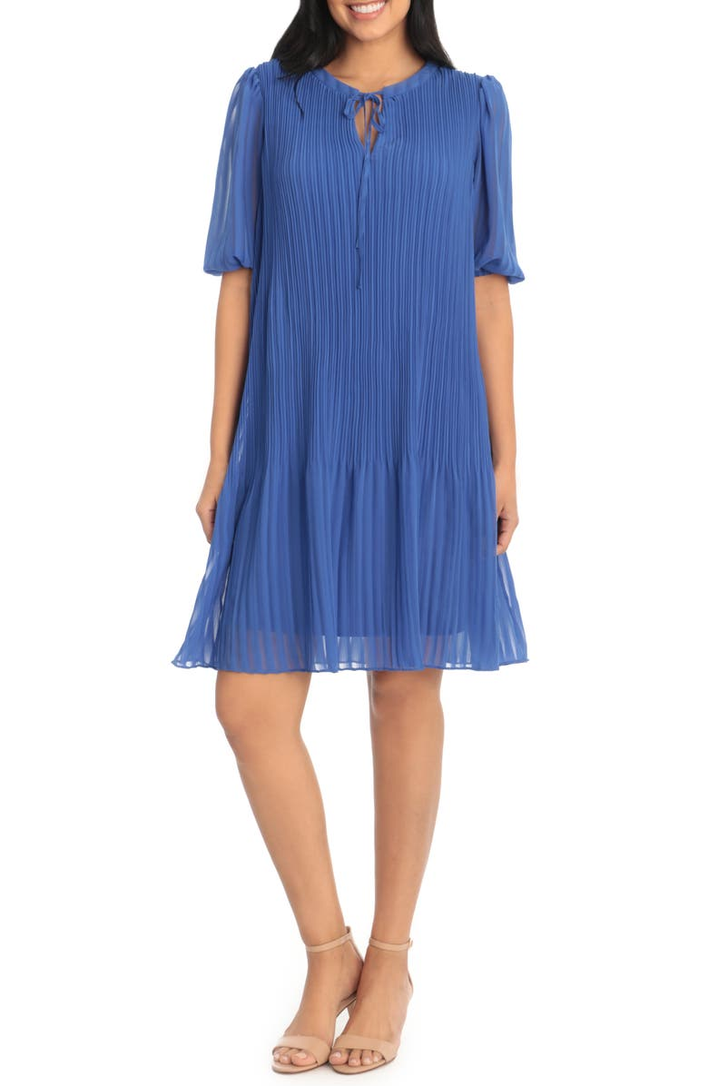 LONDON TIMES Tie Neck Crystal Pleated Shift Dress, Main, color, BLUE