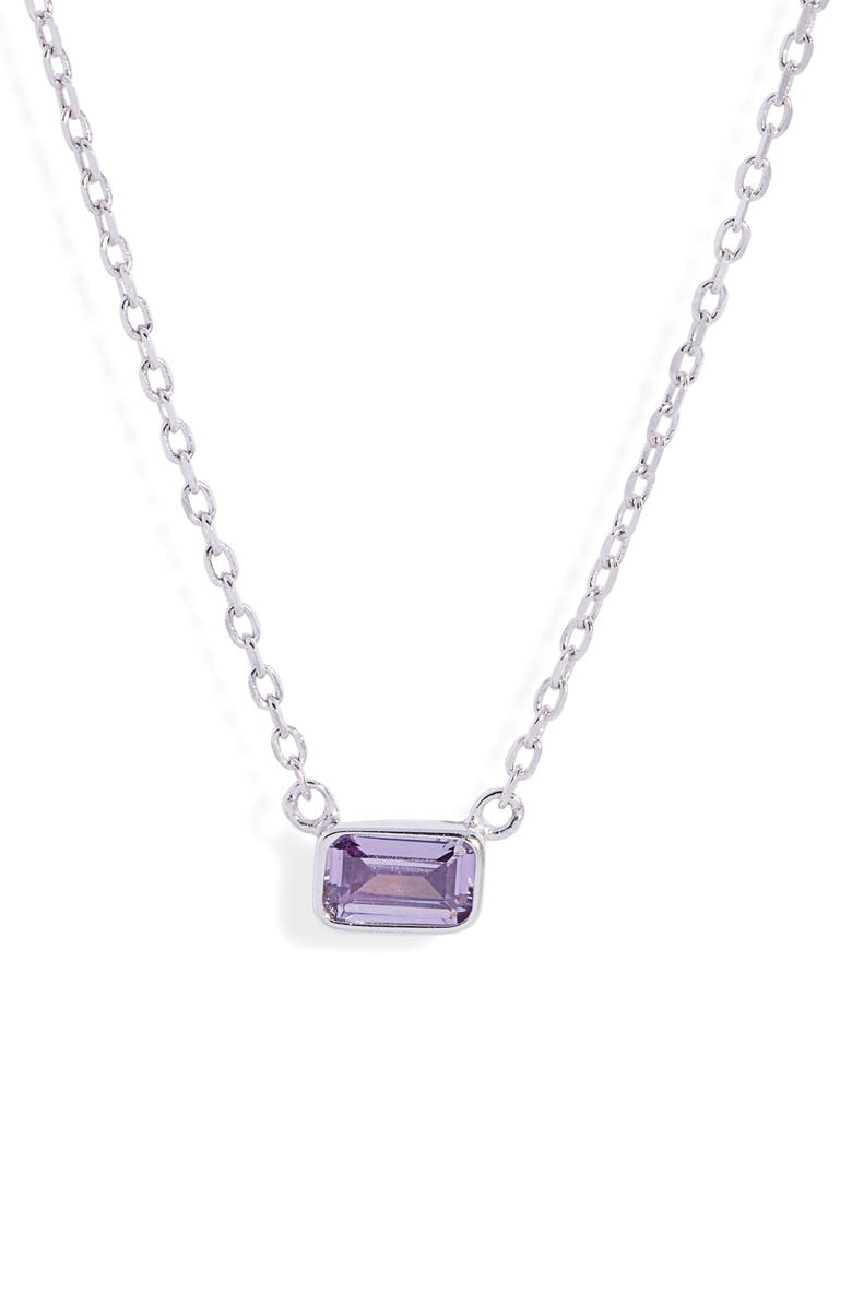 NORDSTROM Sterling Silver Cubic Zirconia Delicate Birthstone Pendant Necklace, Main, color, FEBRUARY- PURPLE- SILVER