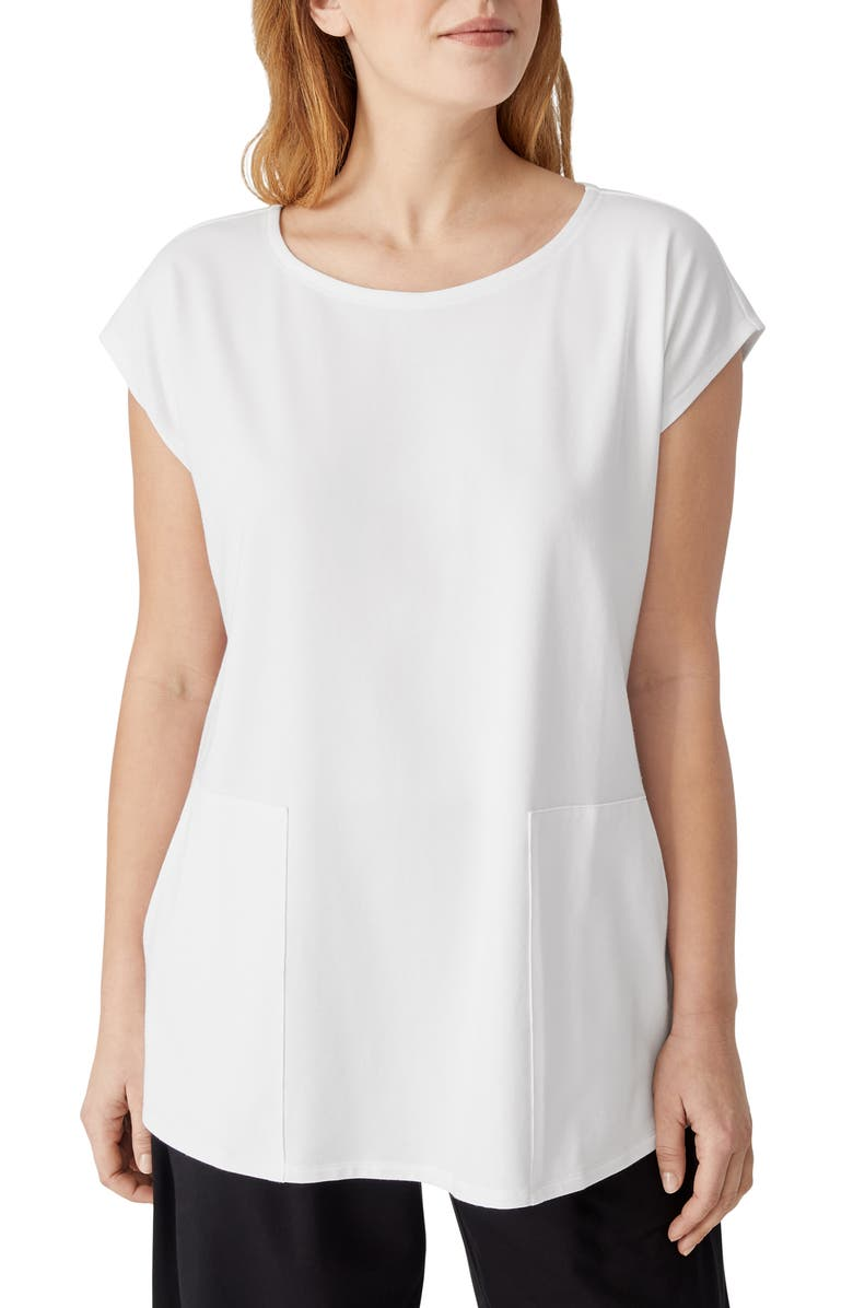 EILEEN FISHER Jewel Neck Boxy Jersey Tunic, Main, color, WHITE