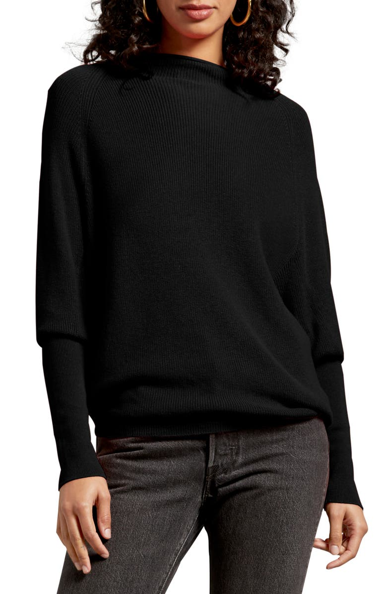 MICHAEL STARS Jette Veronia Ribbed Sweater, Main, color, 001