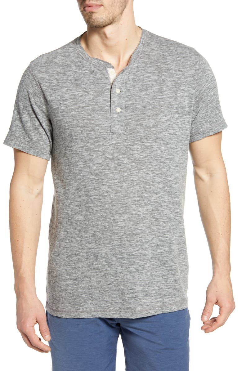 FAHERTY Short Sleeve Heathered Henley, Main, color, CHARCOAL