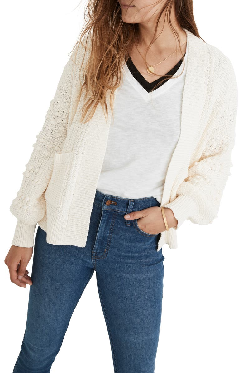 MADEWELL Bobble Cardigan Sweater, Main, color, LIGHTHOUSE