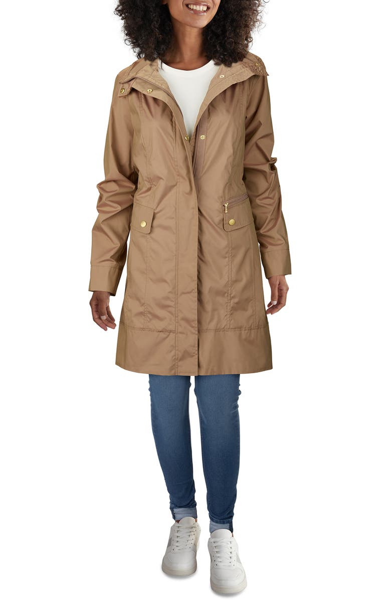 COLE HAAN SIGNATURE Back Bow Packable Hooded Raincoat, Main, color, CHAMPAGNE