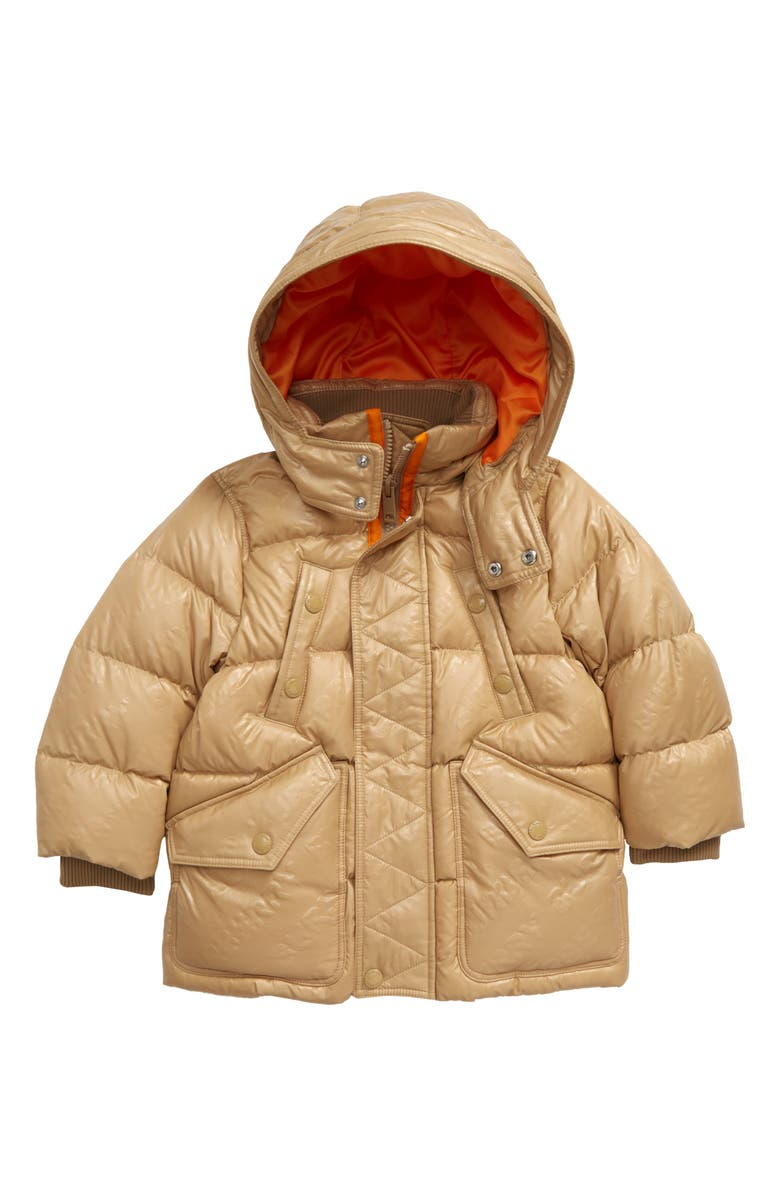 BURBERRY Ryker Hooded Quilted Down Coat, Main, color, 201