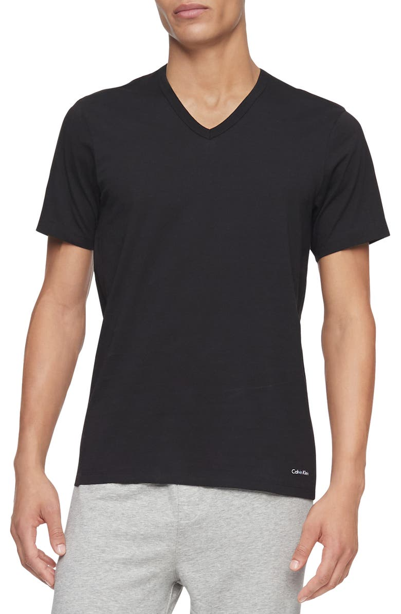 CALVIN KLEIN 3-Pack Slim Fit Cotton V-Neck T-Shirt, Main, color, BLACK