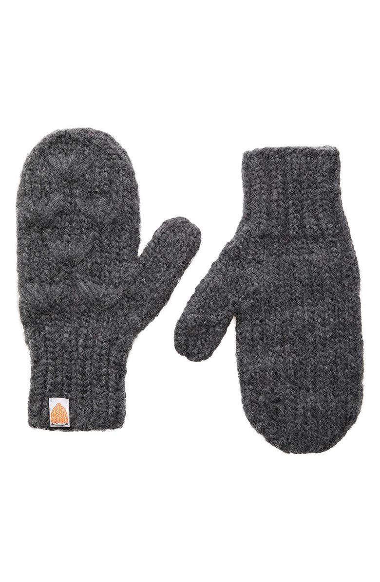 SH*T THAT I KNIT The Motley Merino Wool Mittens, Main, color, CHARCOAL