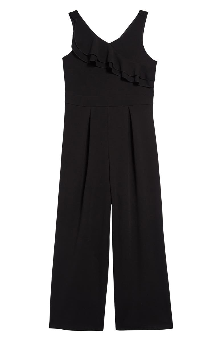 LOVE, NICKIE LEW Double Ruffle Sleeveless Jumpsuit, Main, color, 001