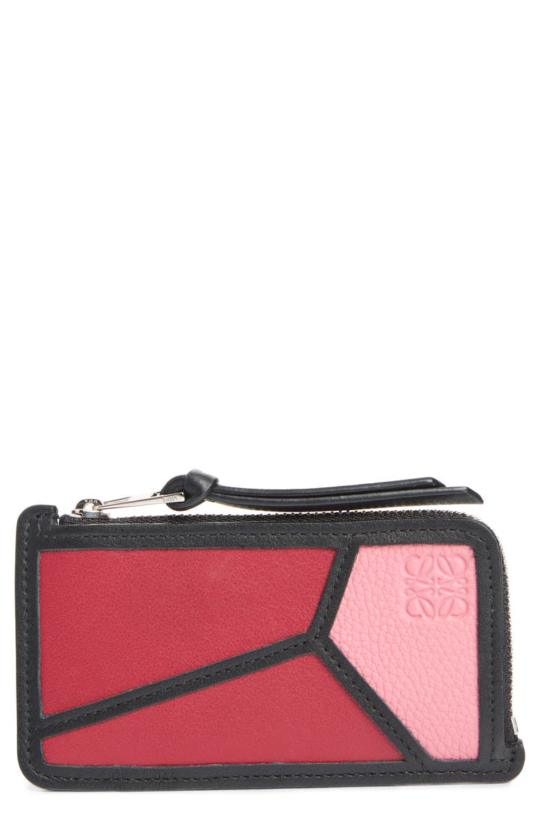LOEWE Puzzle Leather Zip Coin Case, Main, color, 656