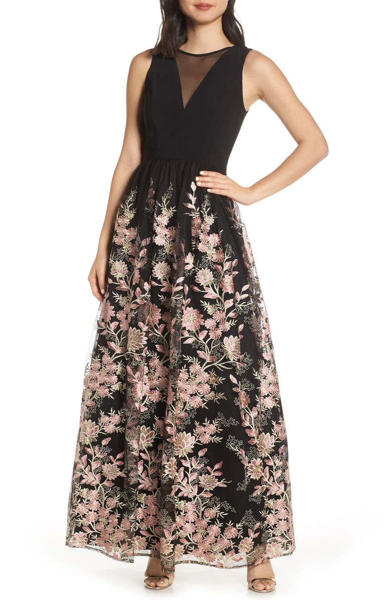 MORGAN & CO. Embroidered Mesh Evening Dress, Main, color, BLACK/ PINK