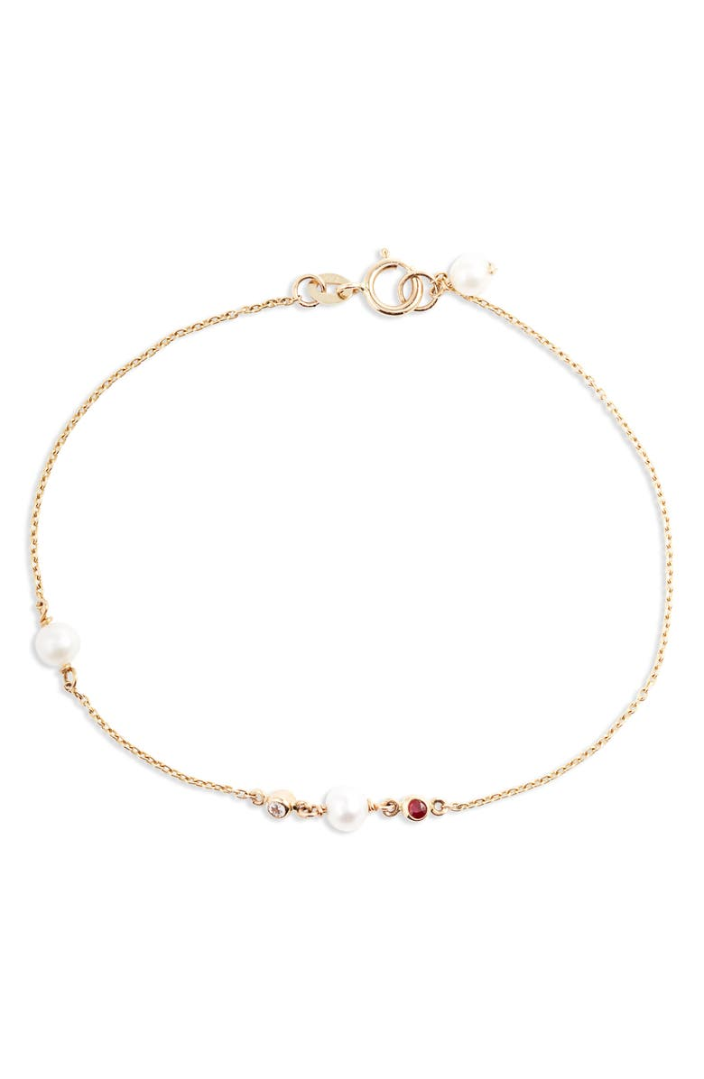 POPPY FINCH Cultured Pearl, Diamond & Ruby Bracelet, Main, color, YELLOW GOLD