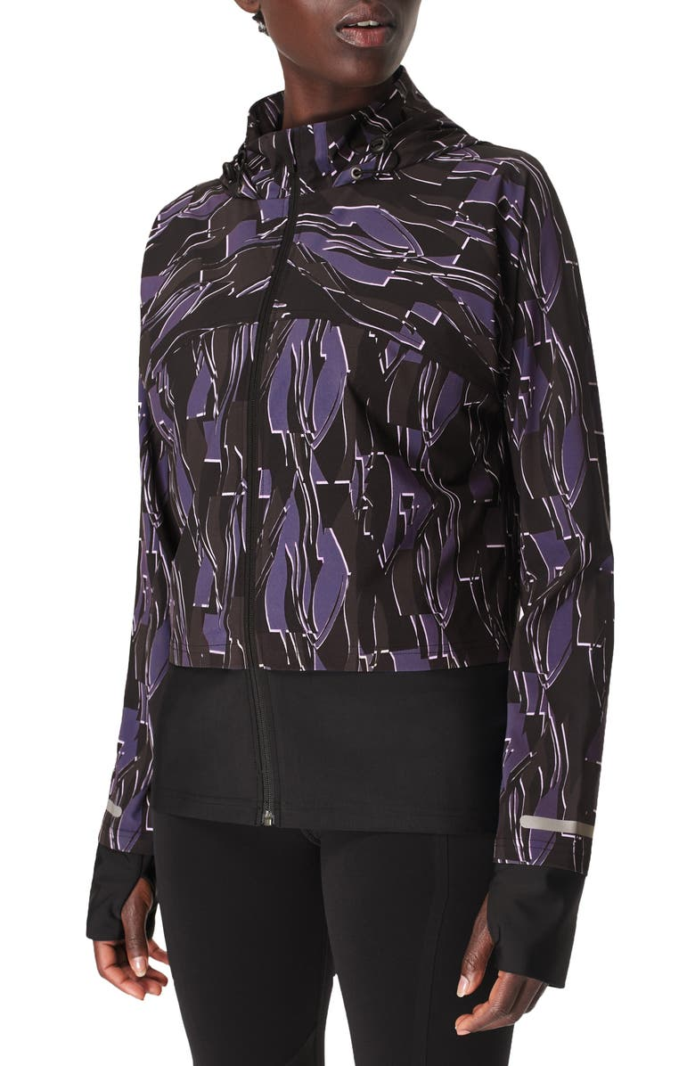 SWEATY BETTY Fast Track Jacket, Main, color, BLACK ABSTRACT SCENE PRINT