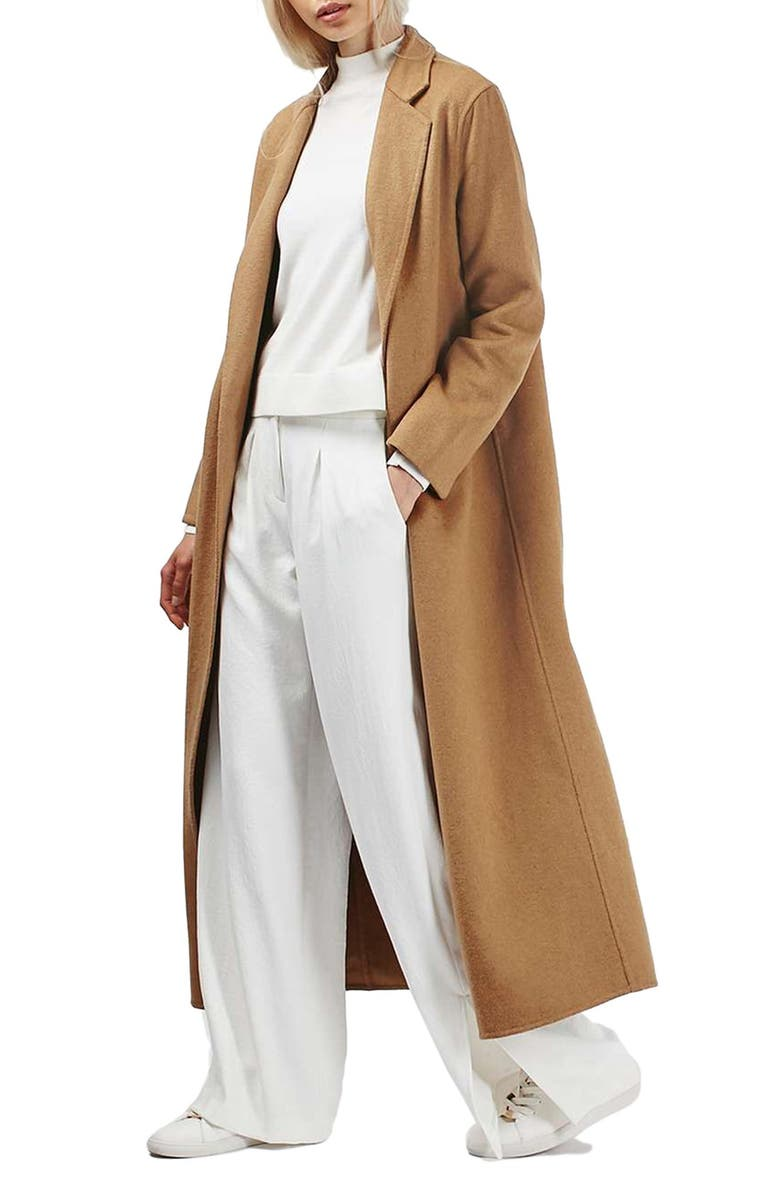 TOPSHOP Butted Seam Duster Coat, Main, color, CAMEL