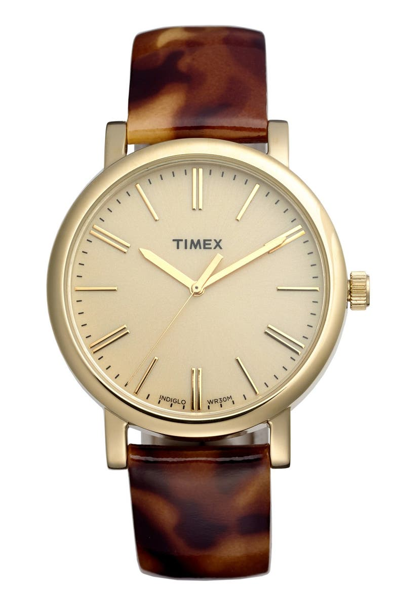 TIMEX<SUP>®</SUP> Round Patent Leather Strap Watch, 38mm, Main, color, TORTOISE/ GOLD