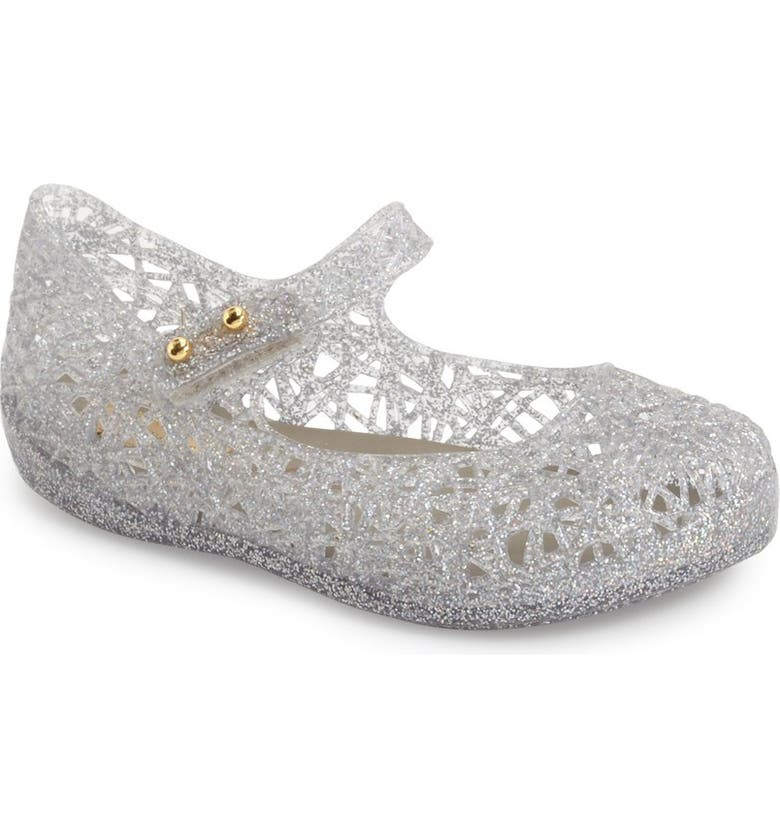 MINI MELISSA Campana Mary Jane Flat, Main, color, LIGHT SILVER