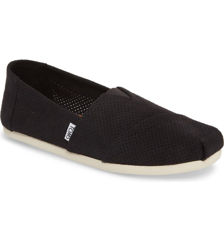 TOMS Alpargata Perforated Slip-On, Main, color, BLACK PERFORATED
