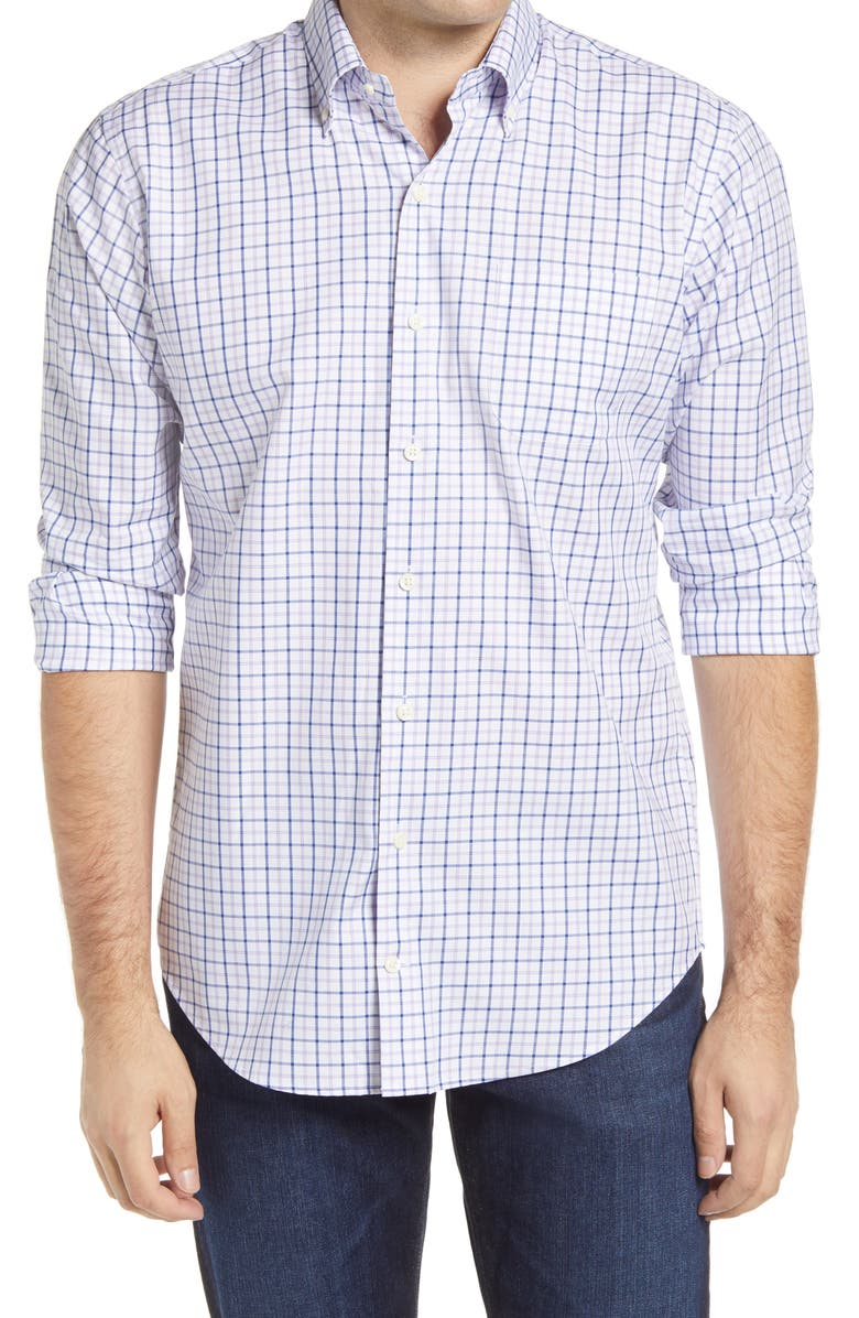 PETER MILLAR Hyco Regular Fit Tattersall Check Button-Down Shirt, Main, color, YORK BLUE