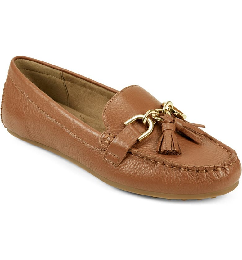 AEROSOLES Soft Drive Tassel Loafer - Wide Width Available, Main, color, TAN LEATHER